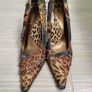 Womans denim and leopard print heels